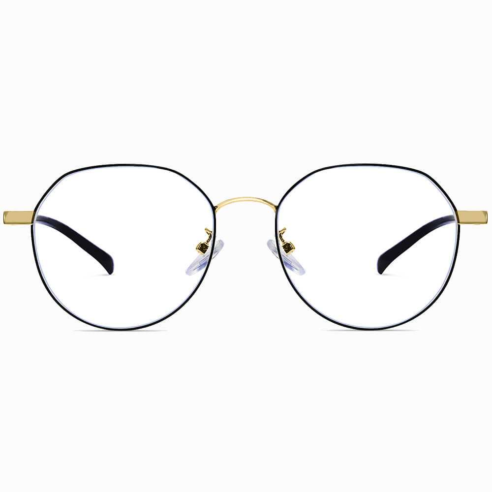 black gold round eyelgasses for women