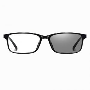 black rectangular eyeglasses for men with photochromic lenses
