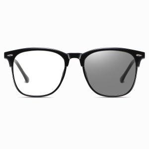black square eyeglasses with photochromic lenses