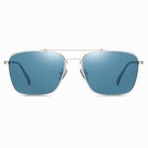 blue rectangular sunglasses with silver frames, double bridge design
