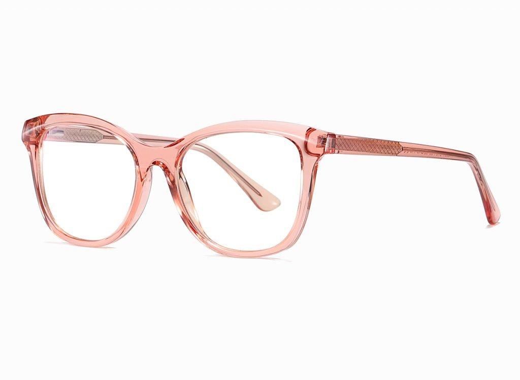 square eyeglasses with transparent pink frame
