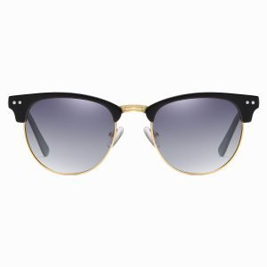 black half frame sunglasses with purple lenses