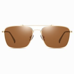 brown rectangle sunglasses with gold double bridge frames
