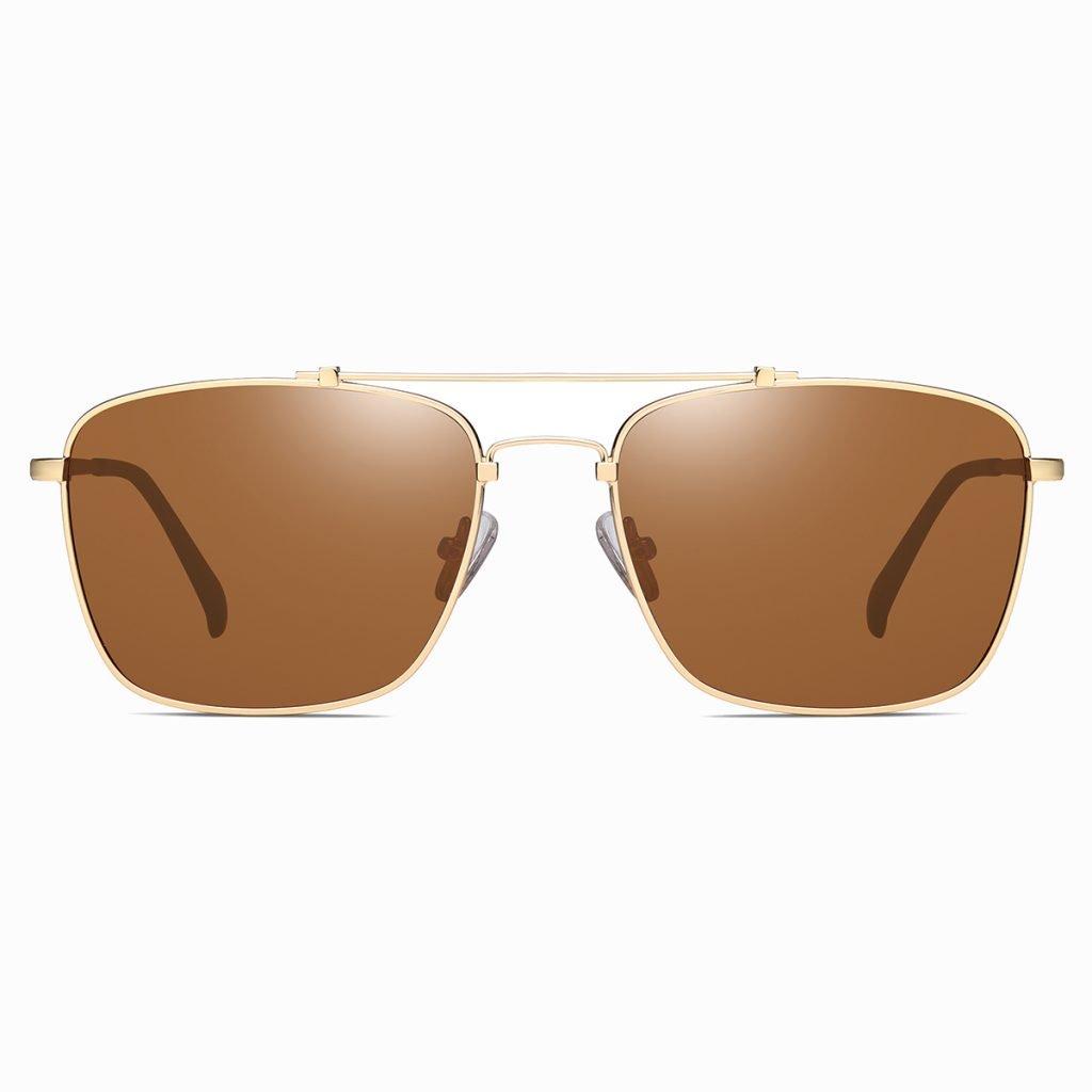 mens double bridge rectangle sunglasses, gold frames and double bridge