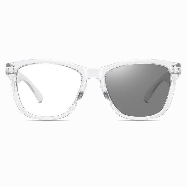 transparent eyeglasses with black lenses