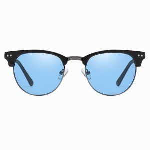 Black Half frame sunglasses with blue lenses