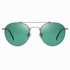 green round sunglasses with deep gray double bridge