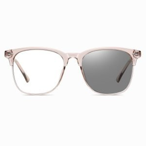 pink square eyeglasses with photchromic lenses
