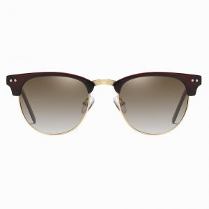 Deep Red Top Half Frame Sunglasses with brown lenses and gold trims