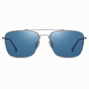 blue rectangular sunglasses with deep gray frames, double bridge design