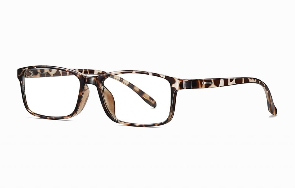 rectangle eyeglasses with tortoise frames