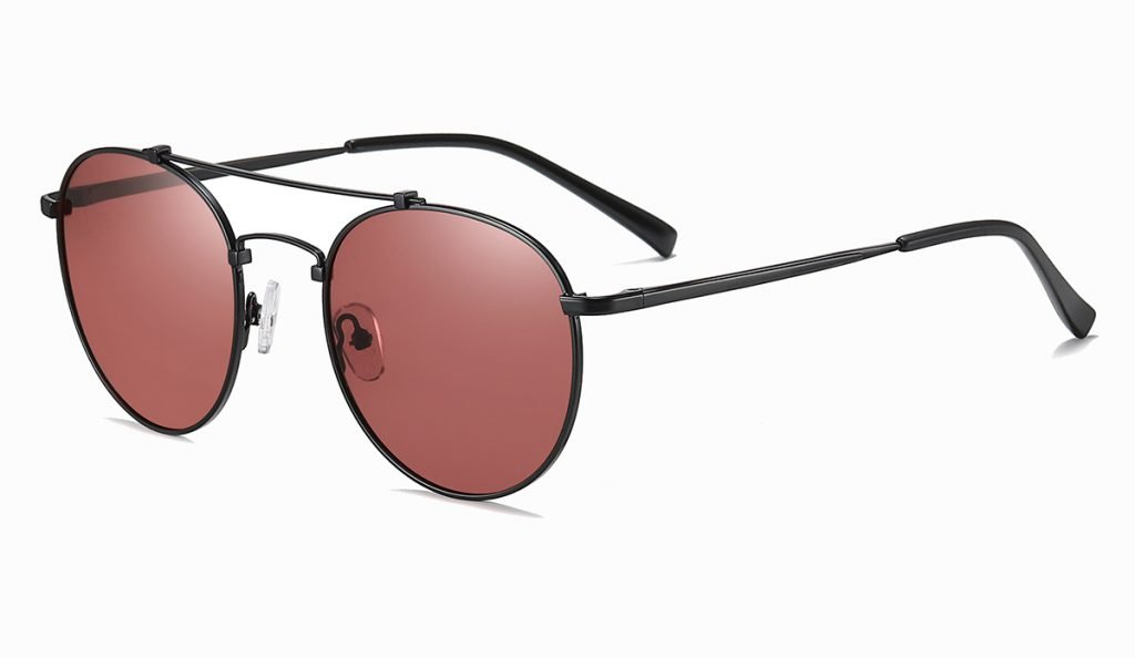 Double bridge round sunglasses, black frames with red lenses, thin black temple arms