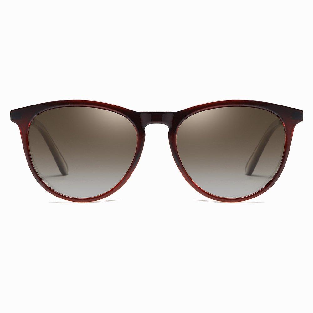 Deep Red Gradient Frames Round Sunglasses