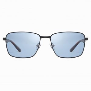 blue rectangle sunglasses for men with black frames