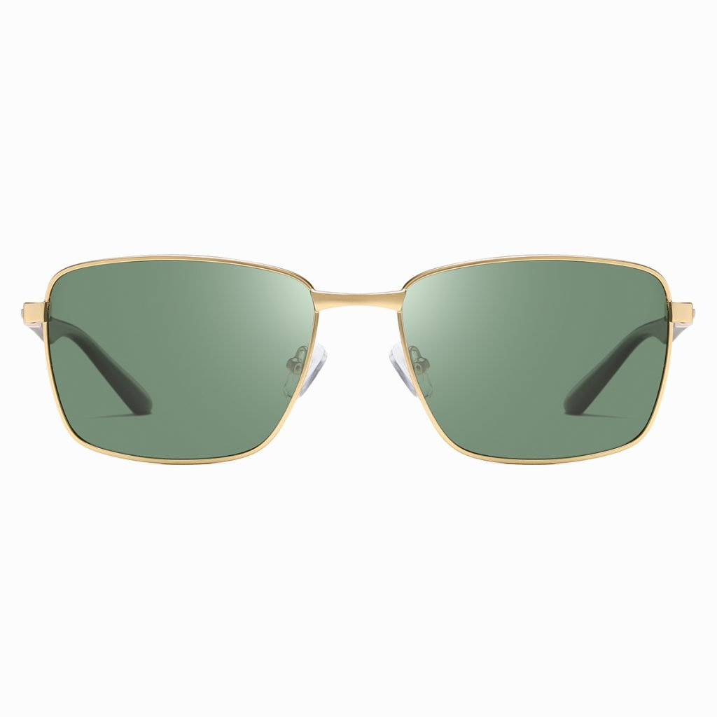 green rectangle sunglasses for men, with gold frames