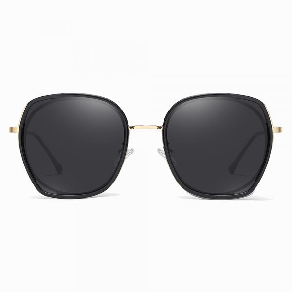 black square sunglasses with gold nose bridge and frames