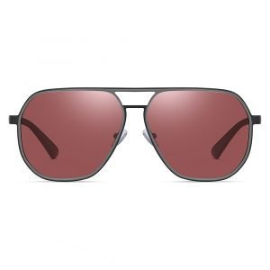 double bridge claret red sunglasses for men