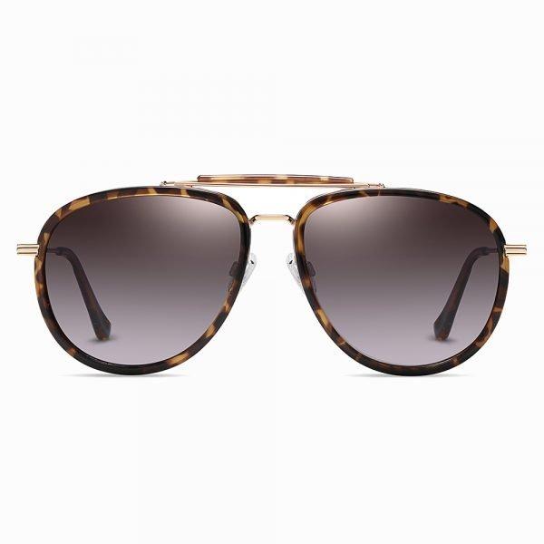 double bridge round sunglasses with tortoise frame
