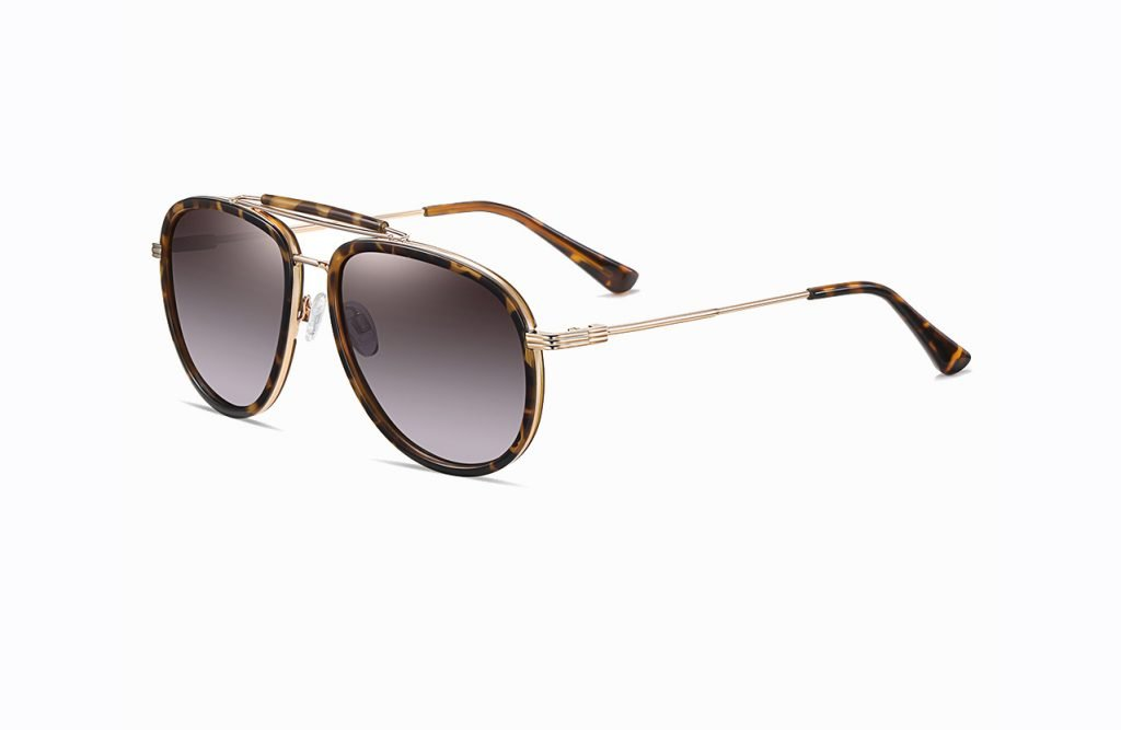purple double bridge round sunglasses with tortoise frame, gold temple arms and tortoise ending tips