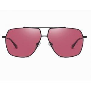 men square sunglasses with double bridge, claret lenses with black trim