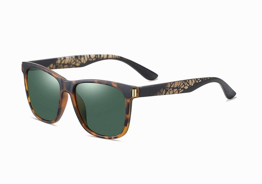 tortoise rectangle sunglasses with green G15 lenses, black temple arms with floral tinted