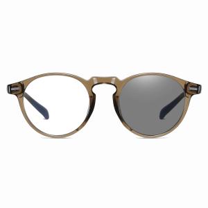 brown round eyeglasses with photochromic lenses
