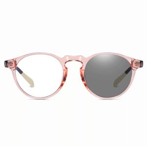 pink circular eyewear for women with photochromic lenses