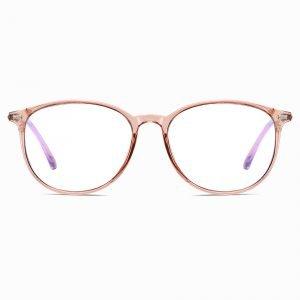brown round glassses with blue light blocking lenses