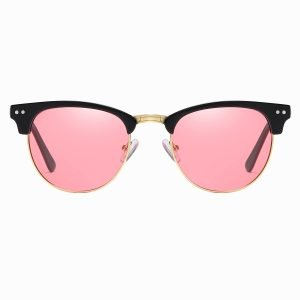 Half frame sunglasses with pink lenses and gold trims around the lens