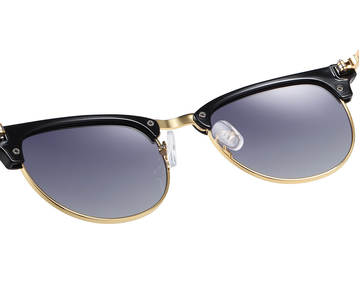 Black half frame sunglasses with purple lenses gold trims and adjustable nose pad