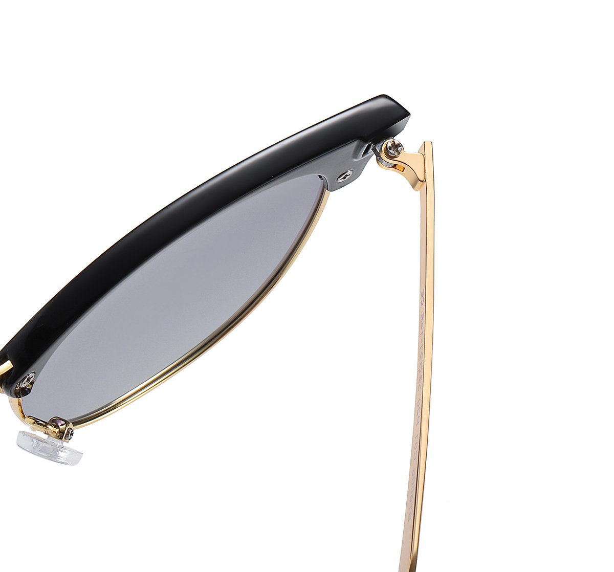 black sunglasses frames with gold temple arms, strong build hinges
