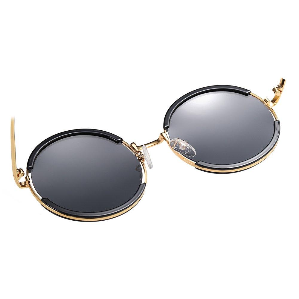 classic retro round sunglasses with black frame and gold nose bridge