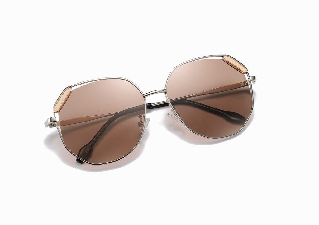 light brown geometric sunglasses