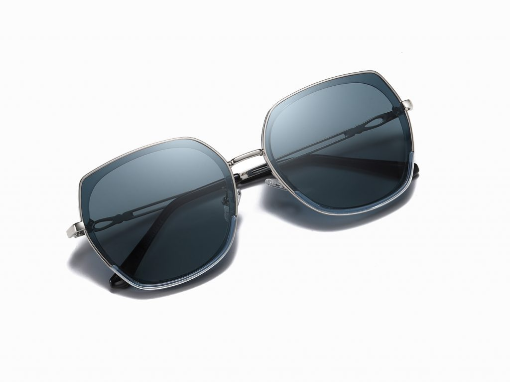 deep blue square sunglasses with silver temple arms