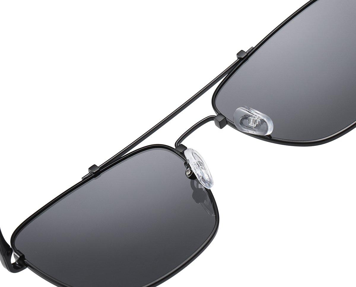 double bridge rectangle sunglasses for men, adjustable nose pad