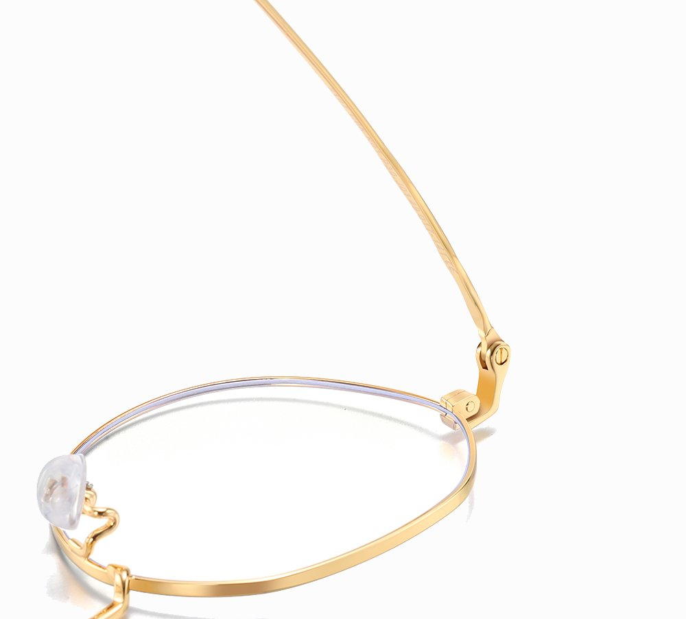 gold spring hinges of the round eyeglasses