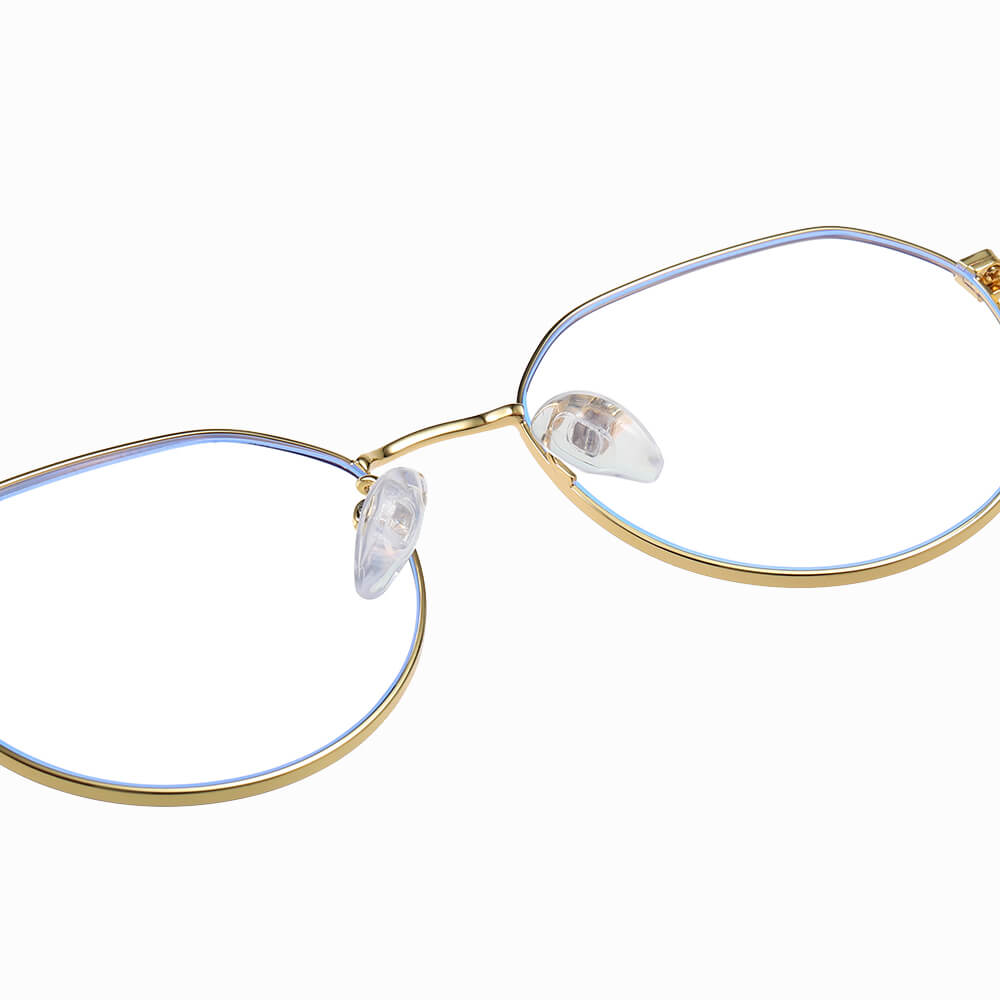 gold round eyeglasses with adjustable nose pads