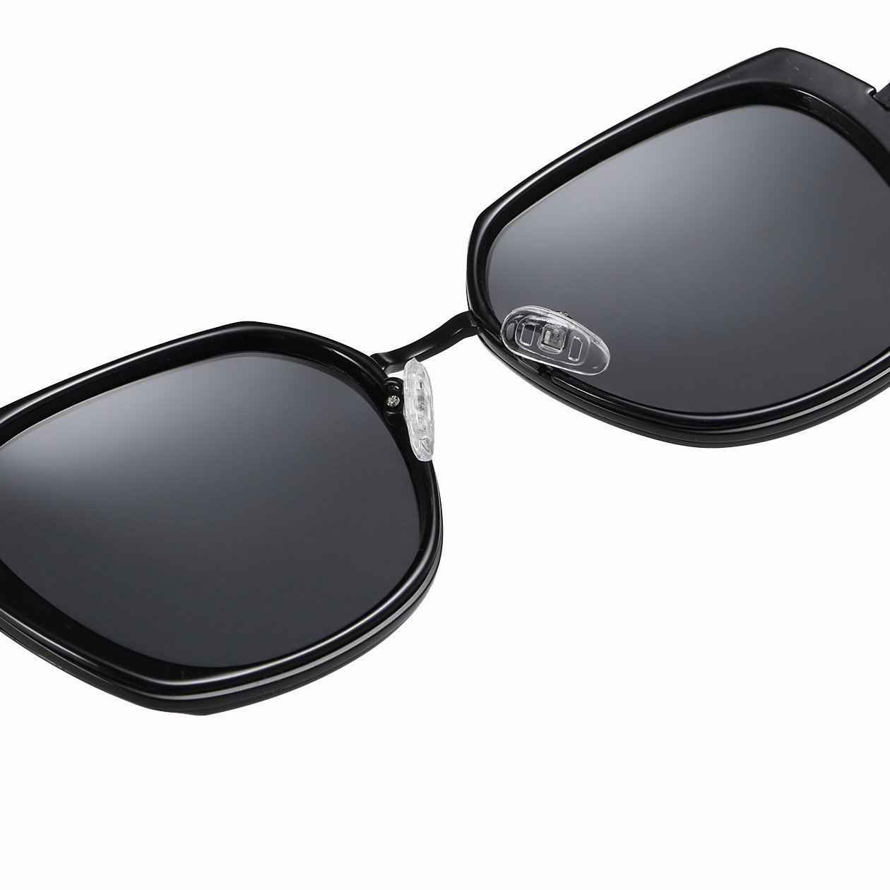 black square sunglasses with adjustable nose pads