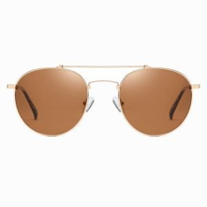 Double bridge round sunglasses, brown frames and lenses