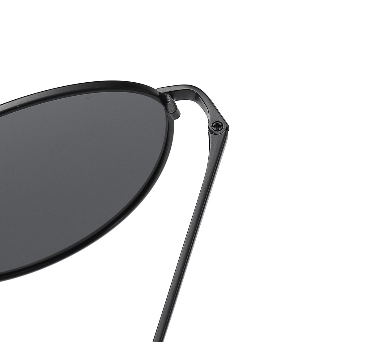 black frames sunglasses with thin temple arms