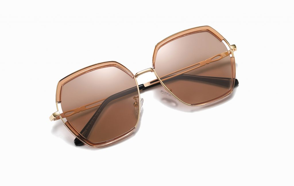 light brown square sunglasses for women with gold temple arms