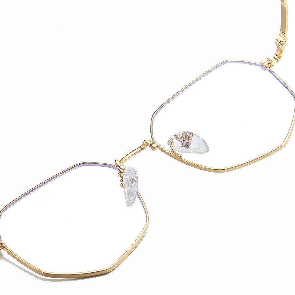 geometric eyeglasses with blue light filter lenses