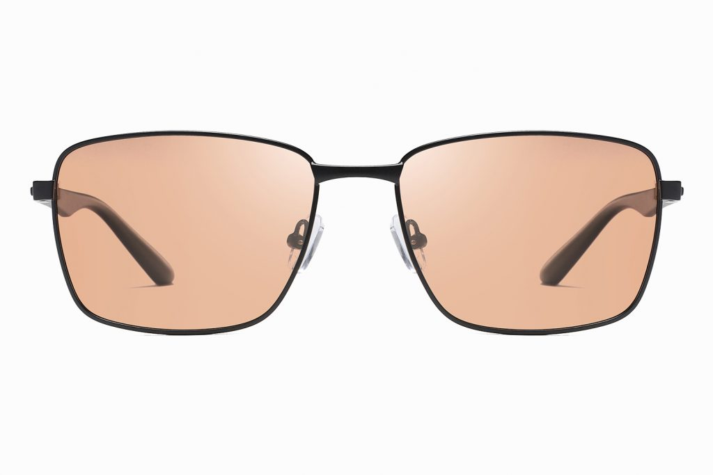 rectangle sunglasses for men, brown tinted lenses with black frame