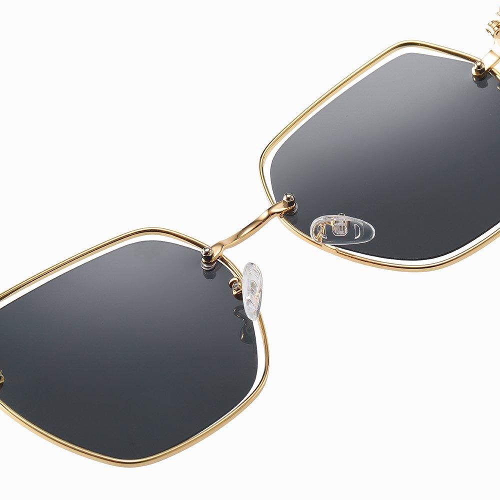 adjustable nose pad, gold frames, square sunshade3