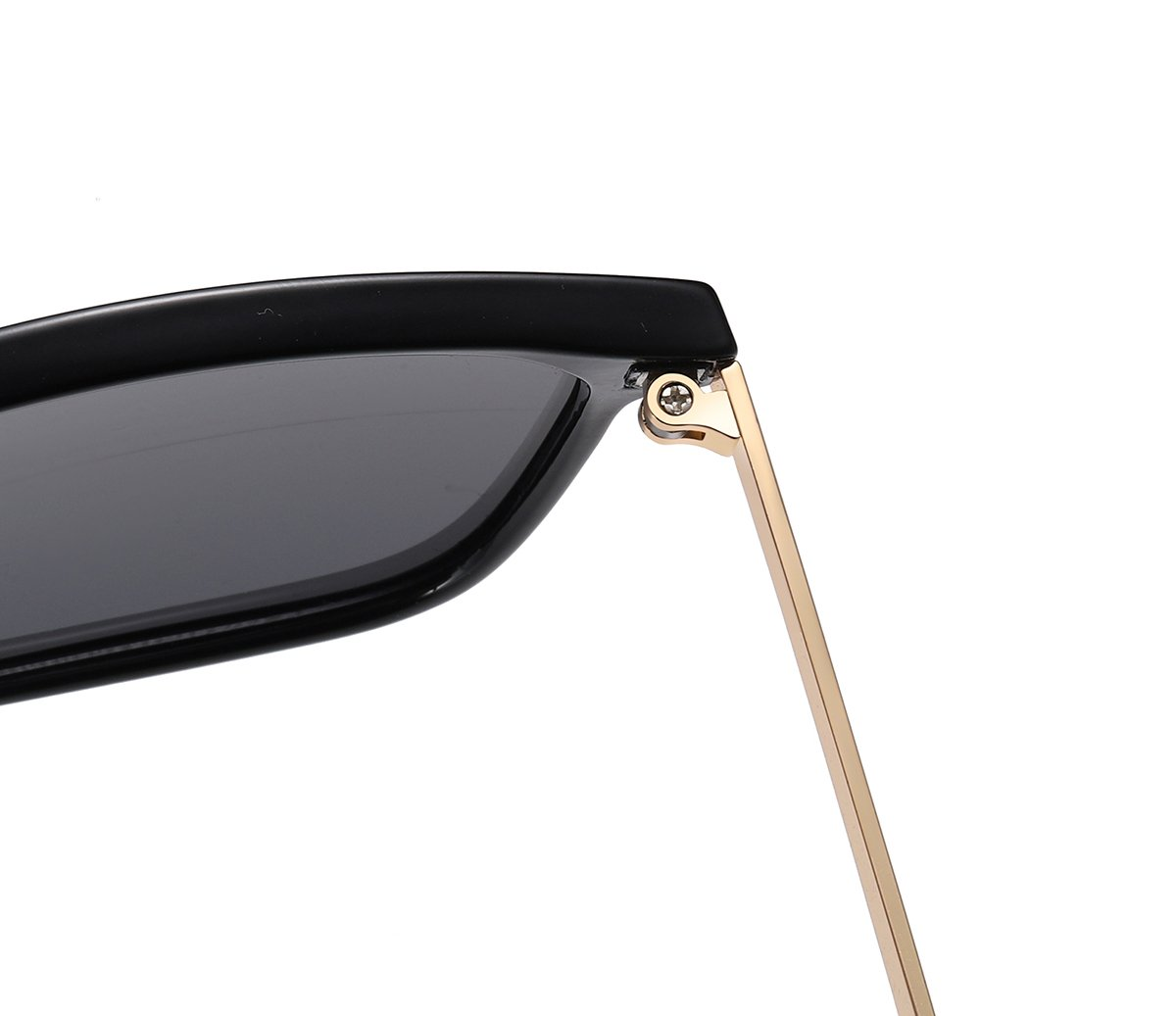 black sunglasses frames with gold temple arms