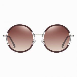 Claret Red Round Sunglasses