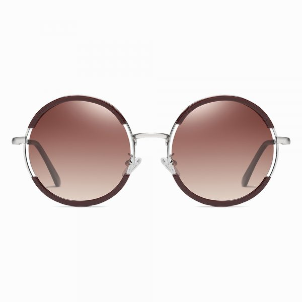 Jam red round sunglasses with deep red frames and silver nose bridge