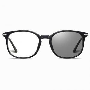 square eyeglasses with light adaptive lenses