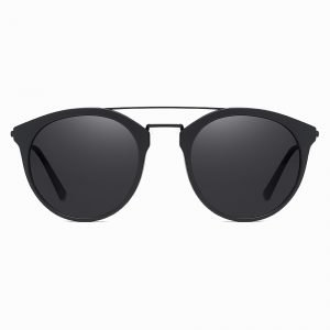Matte Black Round Sunshade for Men Women Double Bridge Design