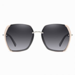 pink gray sunglasses with pink trim